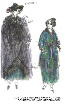 Costume sketches from Act One, courtesy of Jane Greenwood.